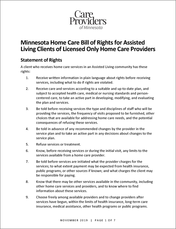Minnesota Home Care Bill of Rights for Assisted Living