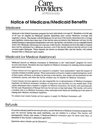 Notice of Medicaid/Medicare Benefits Forms